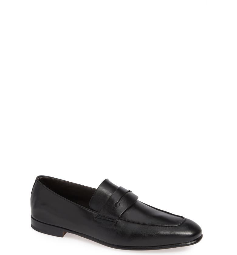 ERMENEGILDO ZEGNA Apron Toe Penny Loafer, Main, color, 001
