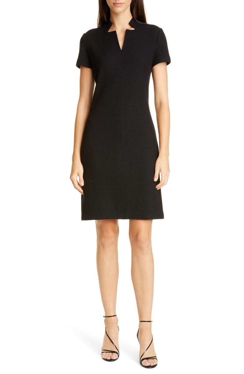 ST. JOHN COLLECTION Micro Bouclé Knit Dress, Main, color, CAVIAR