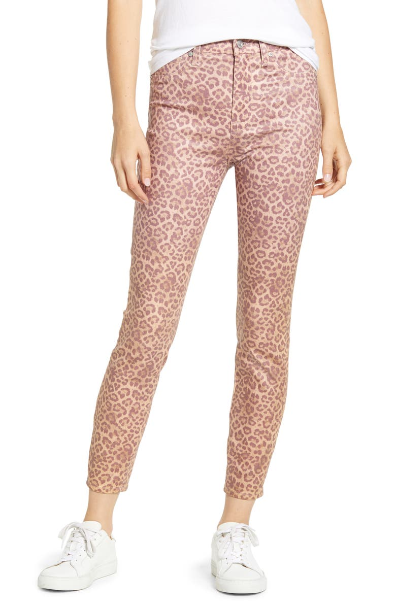 7 FOR ALL MANKIND<SUP>®</SUP> The High Waist Ankle Skinny Jeans, Main, color, COATED ROSE PHOTO LEOPARD