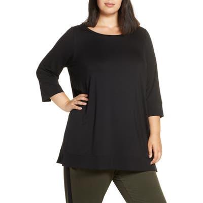 Plus Size Eileen Fisher Ballet Neck Tunic Top, Black