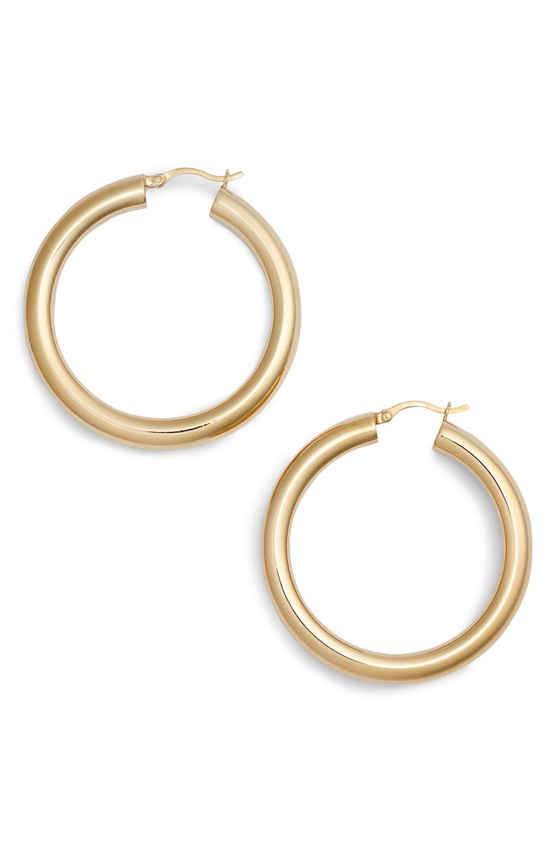 ARGENTO VIVO STERLING SILVER Argento Vivo Medium Hollow Hoop Earrings, Main, color, GOLD