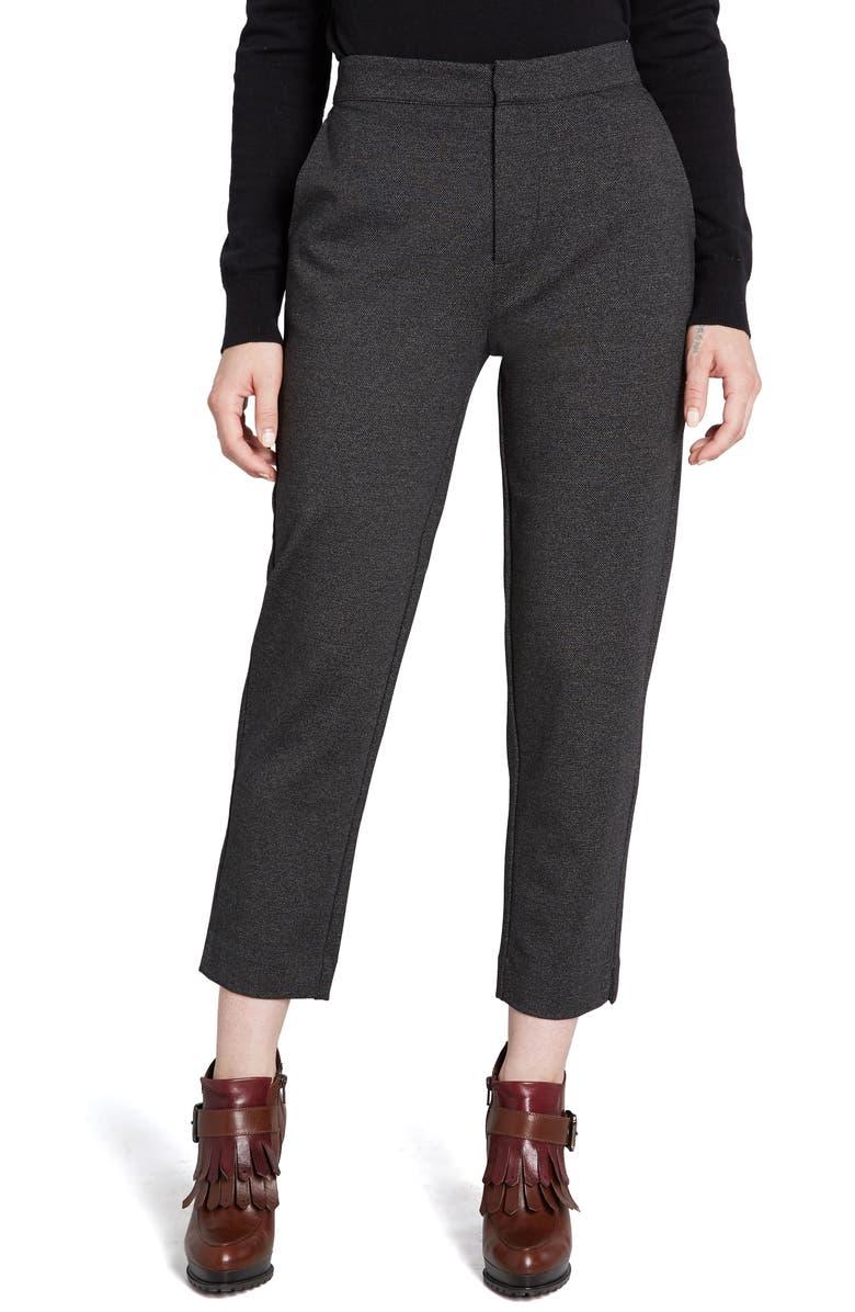 MODCLOTH Crop Ponte Pants, Main, color, BLACK