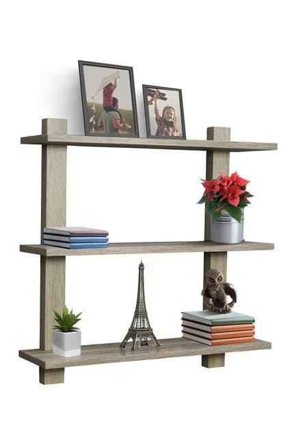Image of Sorbus 3 Tier Floating Shelves - Grey Wood