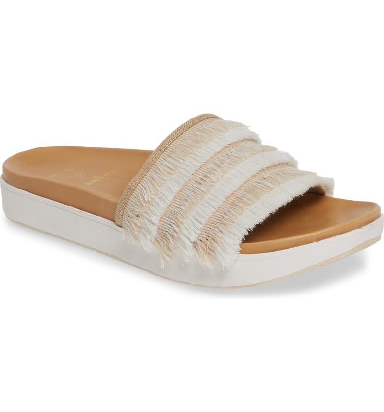 MINNETONKA x Lottie Moss Ashlynn Fringe Slide Sandal, Main, color, TAUPE