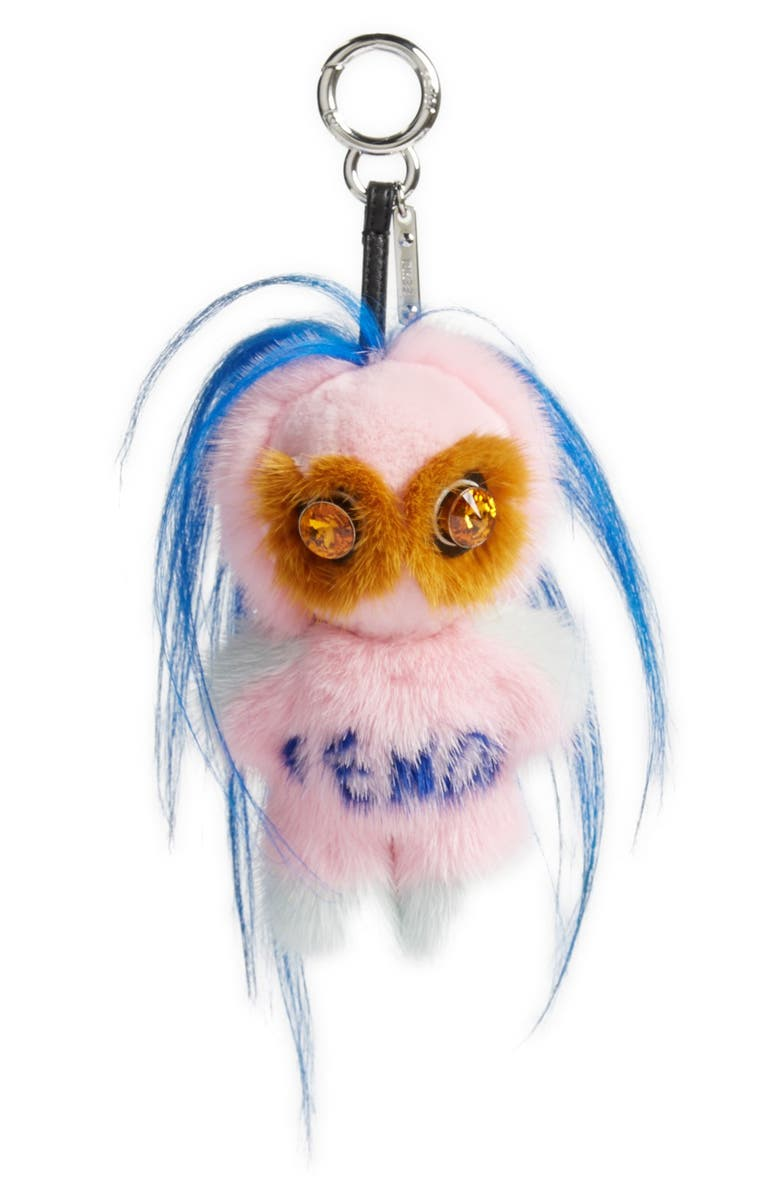 FENDI Fendirumi Piro-Chan Genuine Fur Bag Charm, Main, color, MARSHMALLOW/ PACIFIC