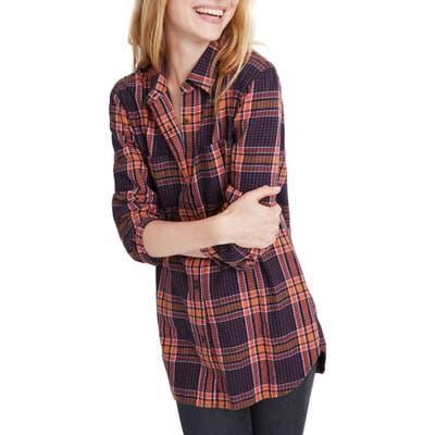 Madewell Edith Plaid Flannel Classic Ex-Boyfriend Shirt, Blue