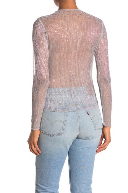 Image of Elodie Glitter Star Metallic Plisse Long Sleeve Top