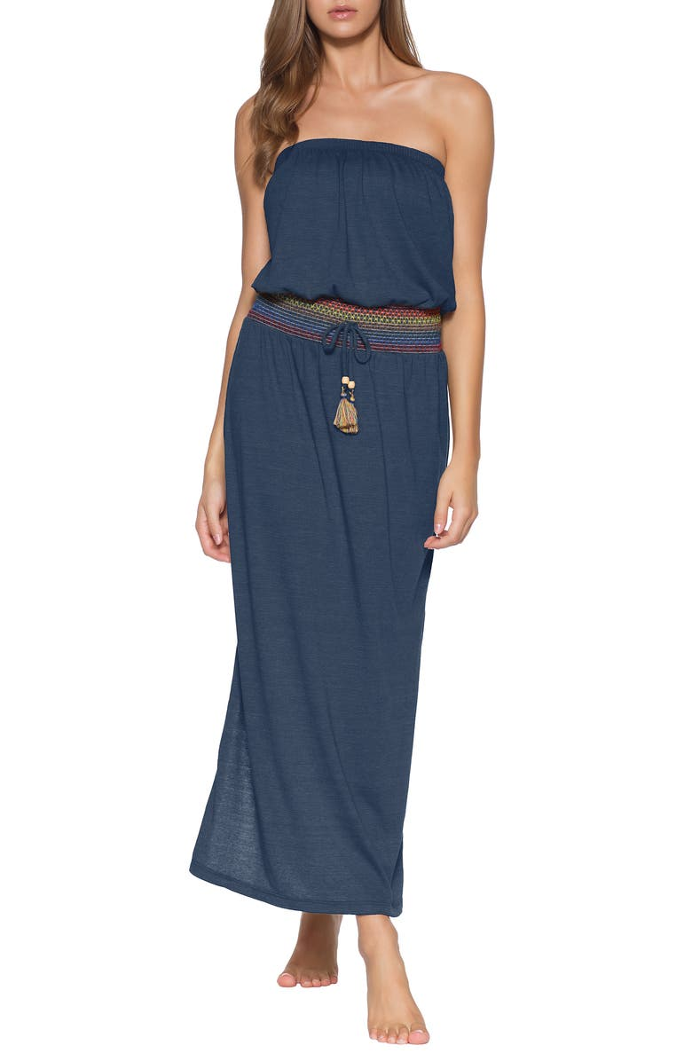 SOLUNA Sunset Smocked Cover-Up Maxi Dress, Main, color, NAVY