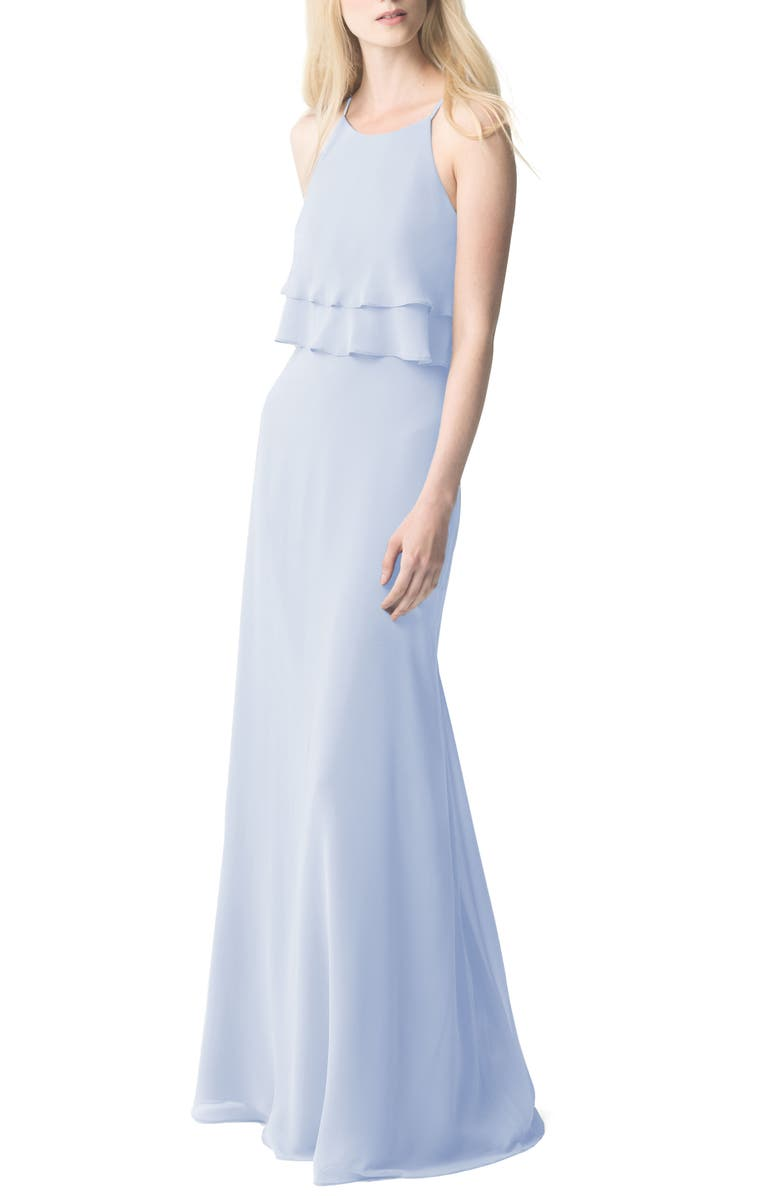 JENNY YOO Charlie Ruffle Chiffon Gown, Main, color, WHISPER BLUE