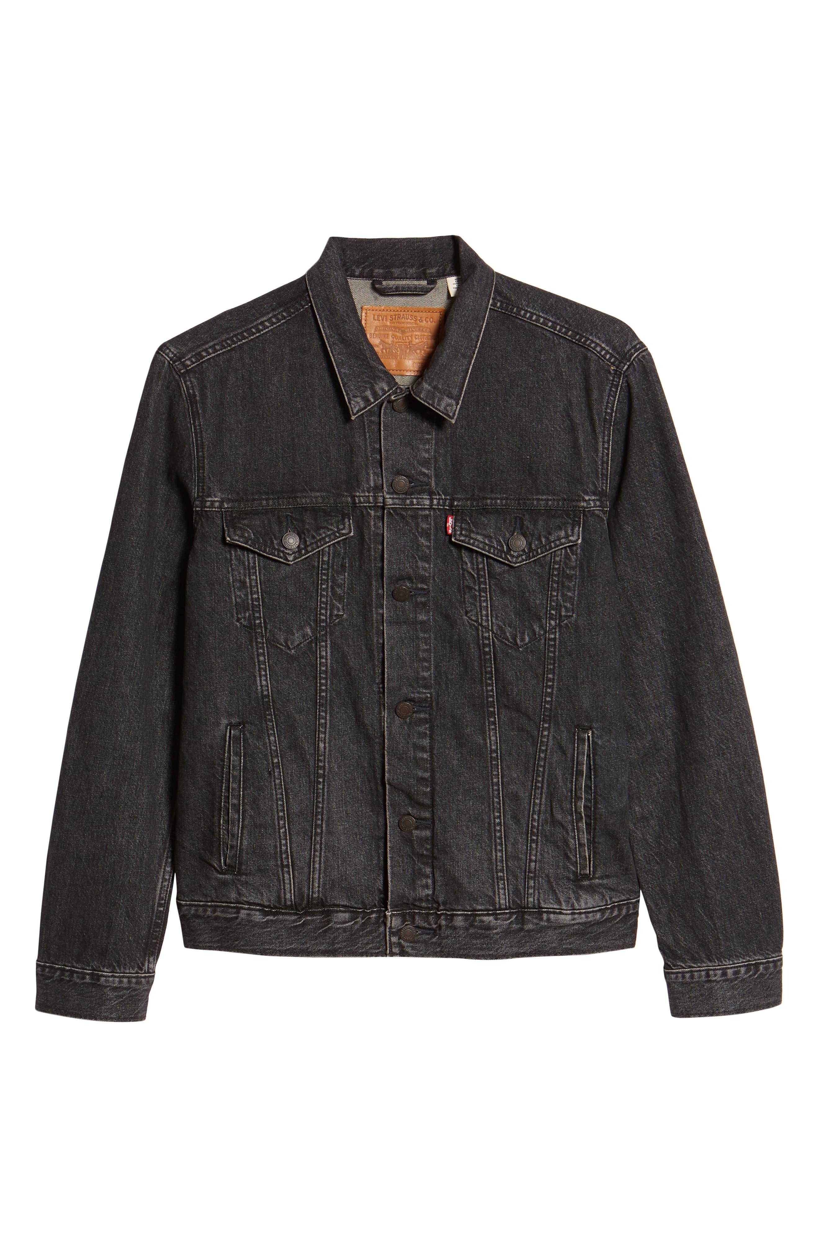 ,                             Trucker Denim Jacket,                             Alternate thumbnail 7, color,                             BLACK FEGIN