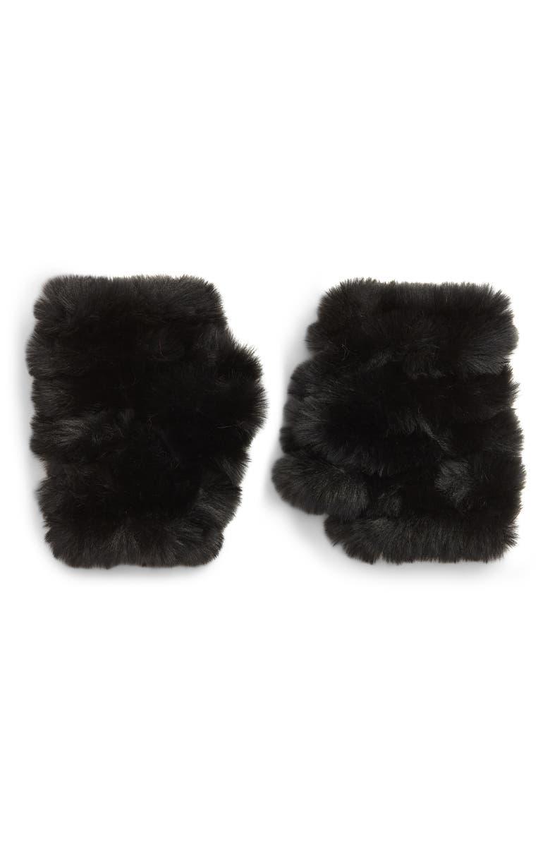 JOCELYN Mandy Faux Fur Handwarmers, Main, color, BLACK