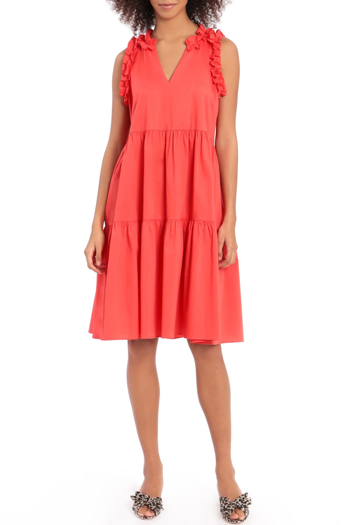 Image of Maggy London 3-Tier Ruffle V-Neck Trapeze Dress