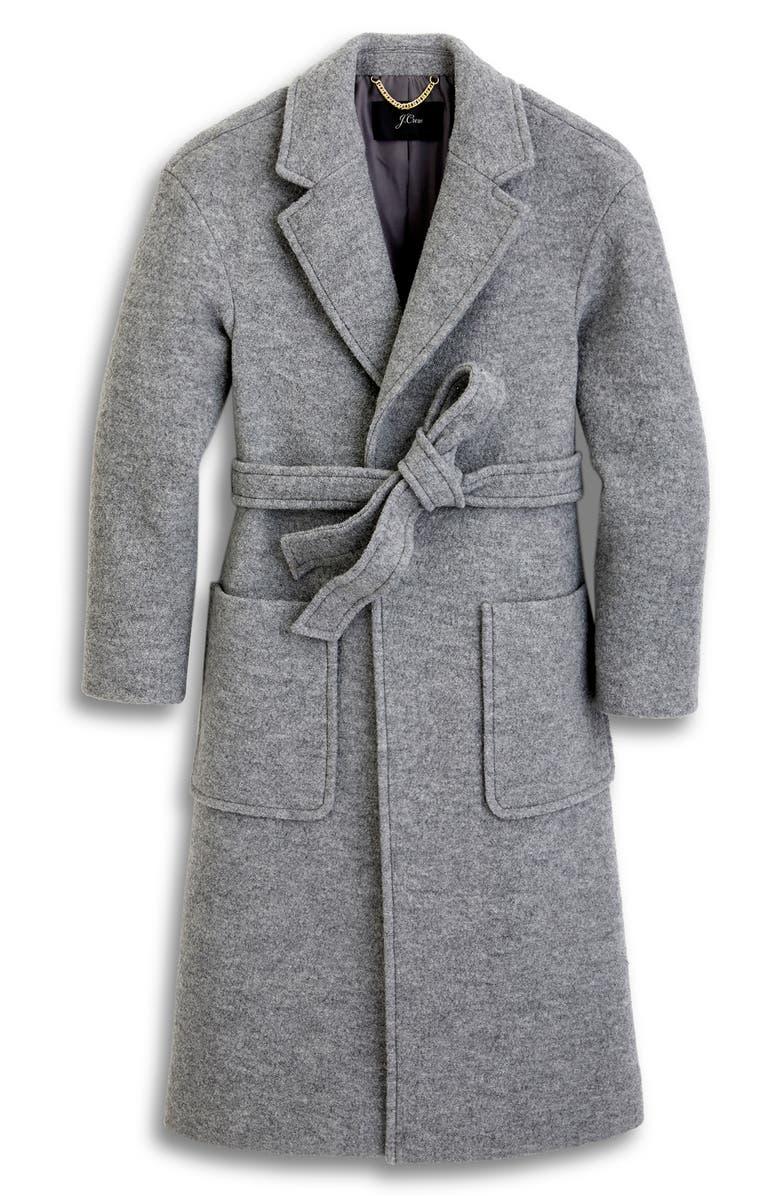 J.CREW Long Wrap Coat in Italian Boiled Wool, Main, color, 020