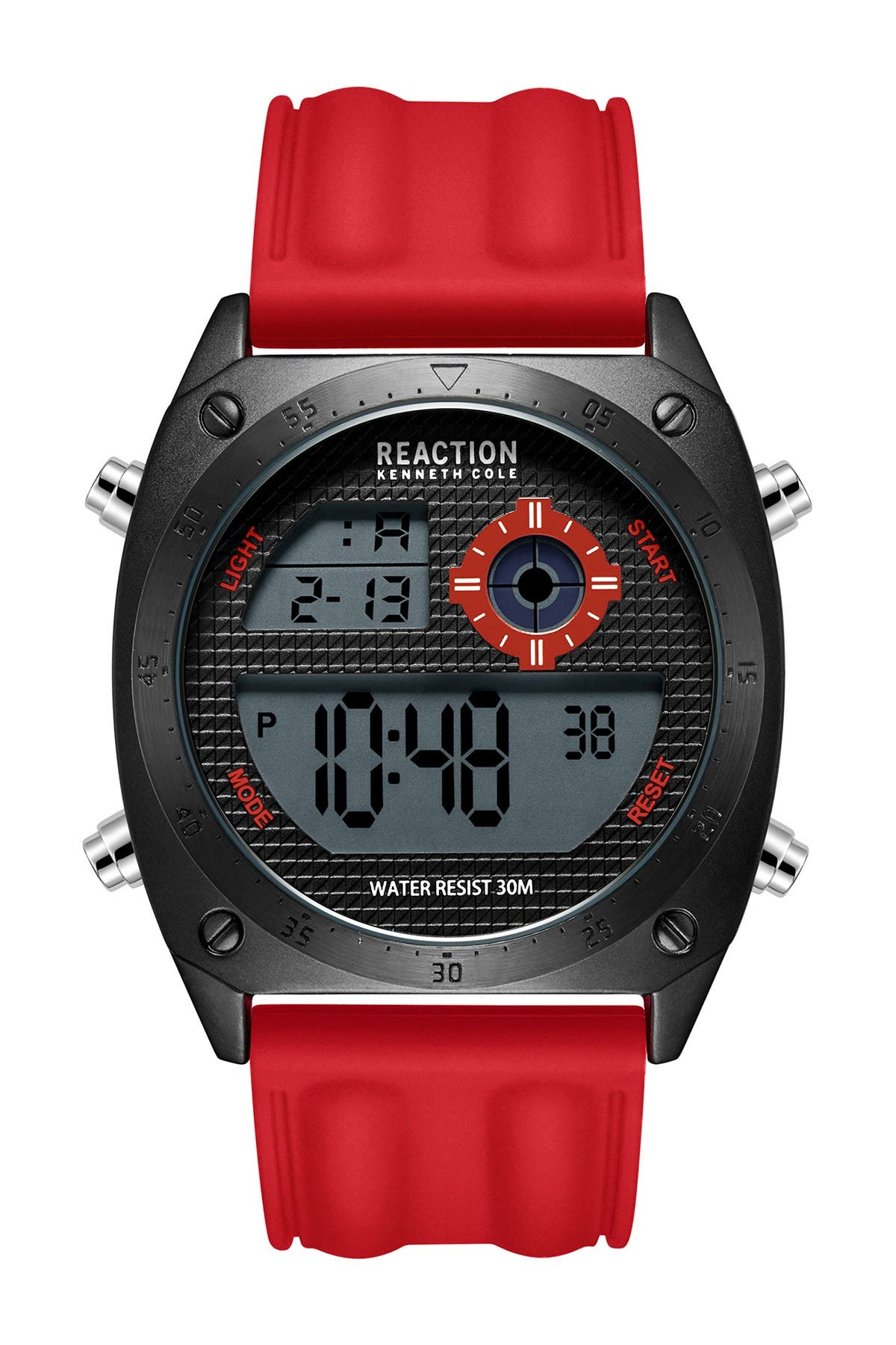 Image of Kenneth Cole Reaction Men's Digital Silicone Strap Watch, 44mm