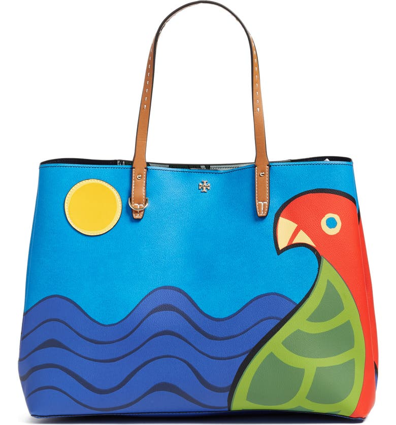 TORY BURCH Kerrington Parrot Coated Canvas Tote, Main, color, 400
