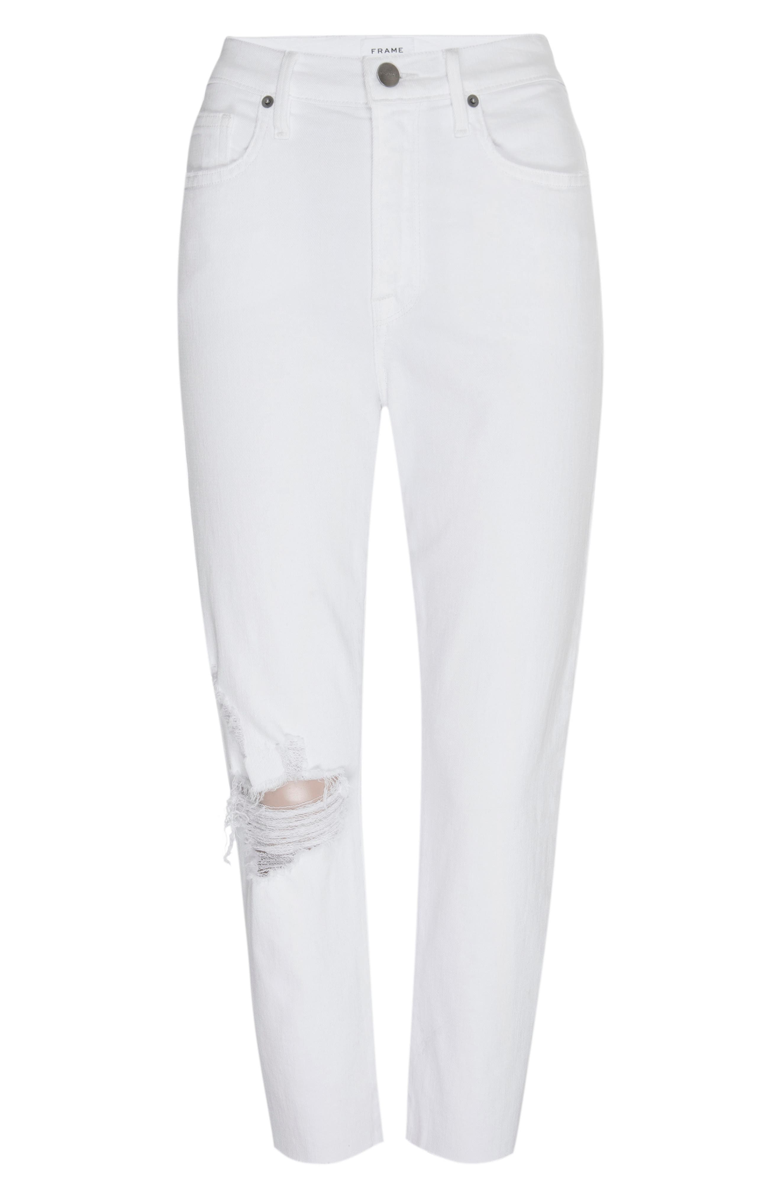 Image of FRAME Le Beau Ripped Crop Straight Leg Boyfriend Jeans