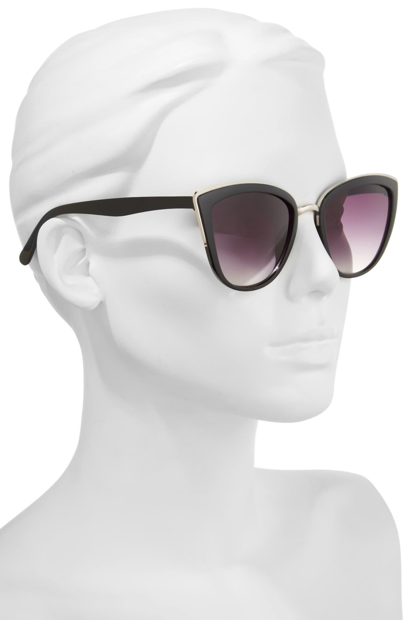 ,                             55mm Metal Rim Cat Eye Sunglasses,                             Alternate thumbnail 2, color,                             001