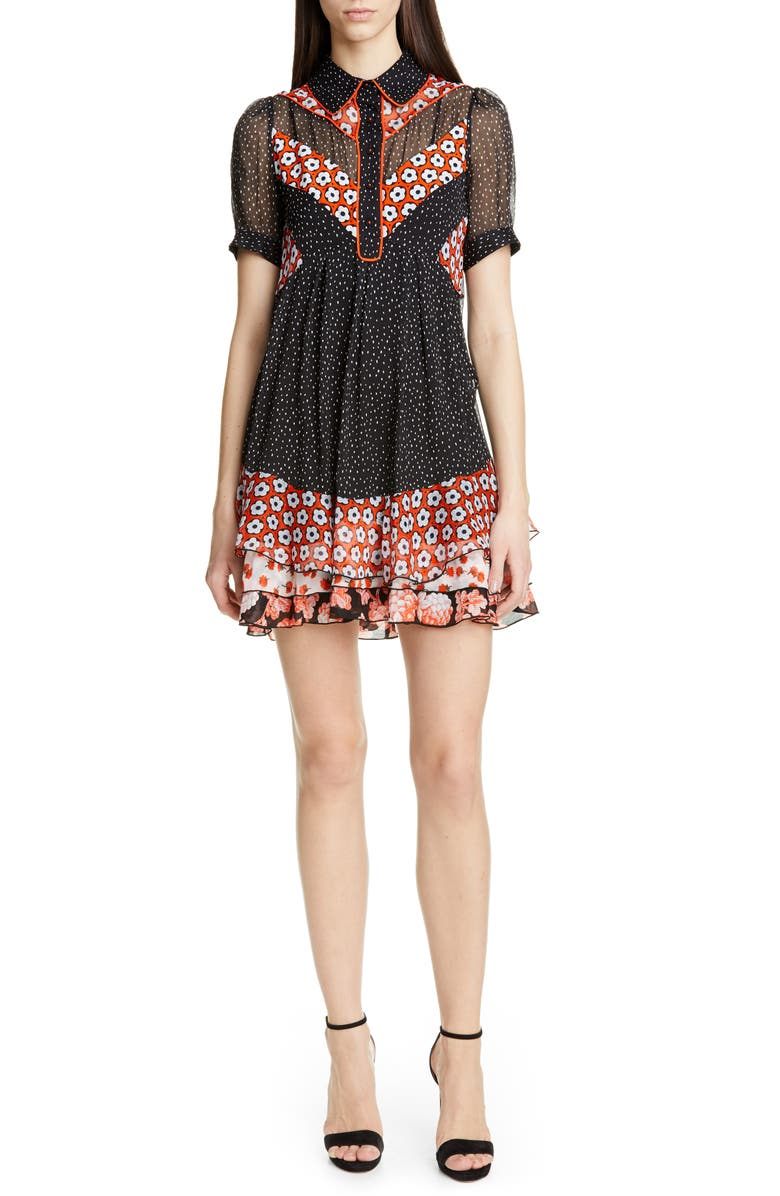 DVF Lou Silk Dress, Main, color, IRVINE DOT BLACK MULTI