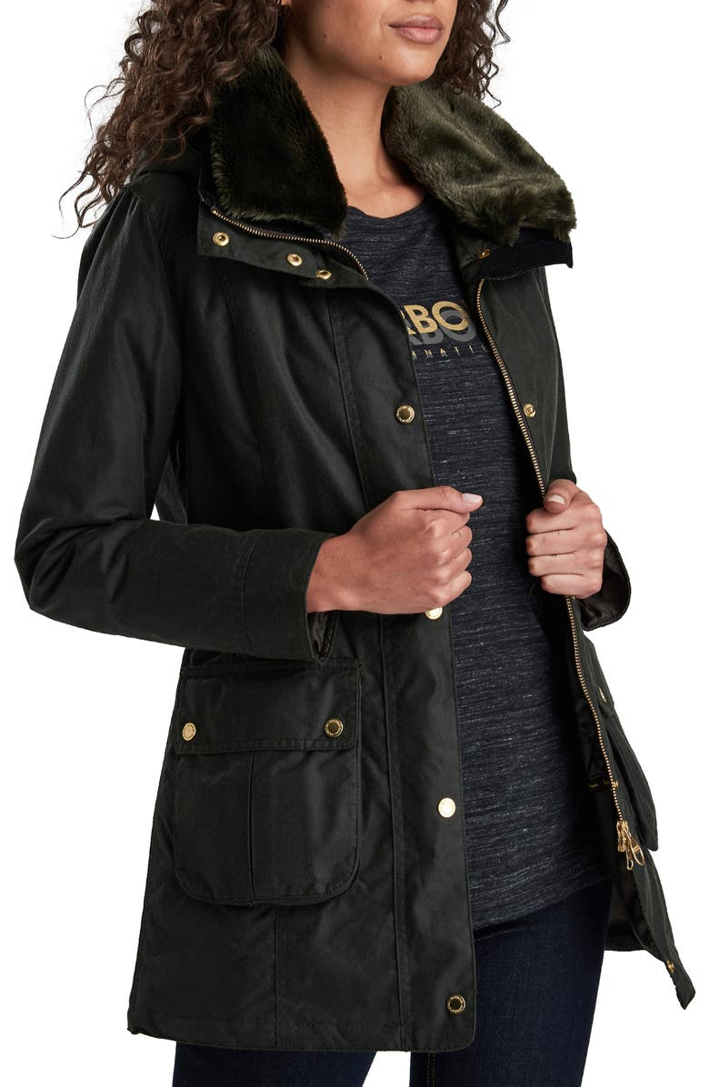 BARBOUR Thrunton Waxed Cotton Jacket with Faux Fur Trim, Main, color, 302