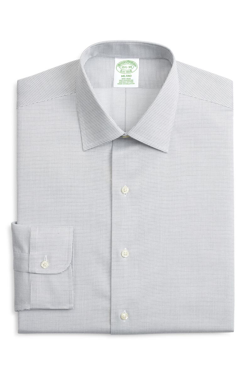 BROOKS BROTHERS Milano Trim Fit Non-Iron Check Dress Shirt, Main, color, GREEN