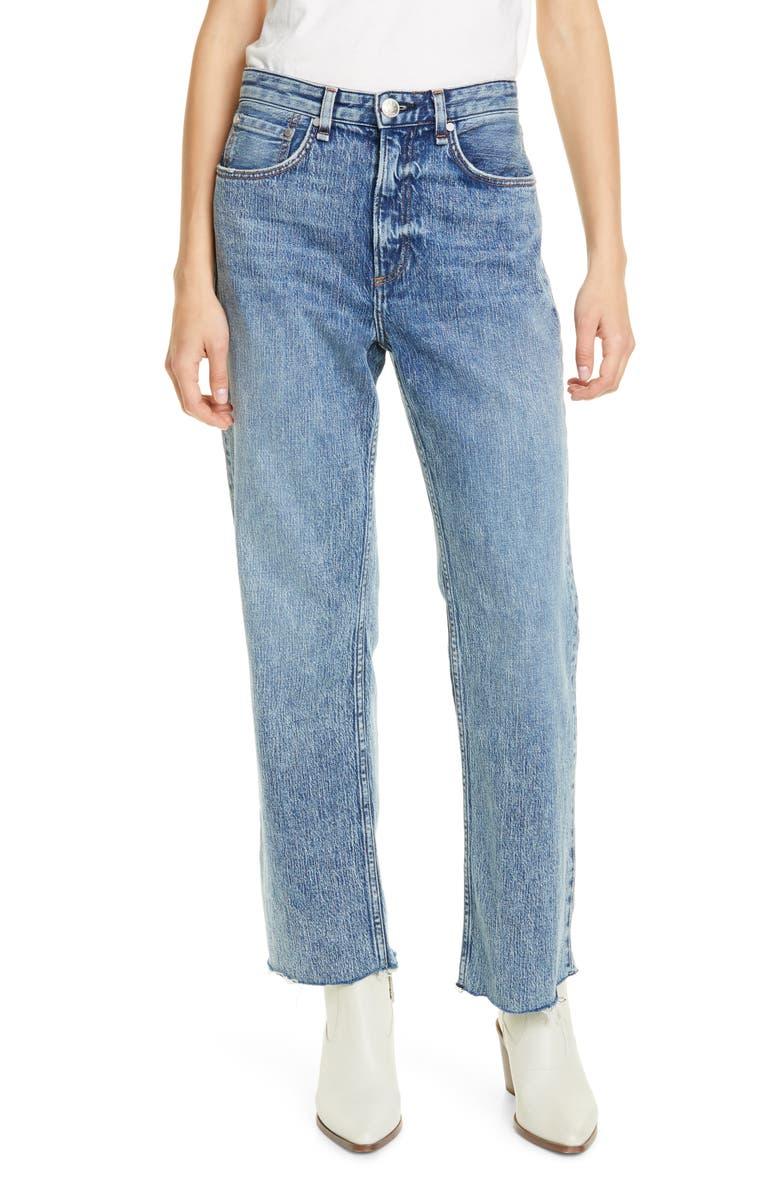 RAG & BONE Ruth Super High Waist Raw Hem Straight Leg Jeans, Main, color, 420