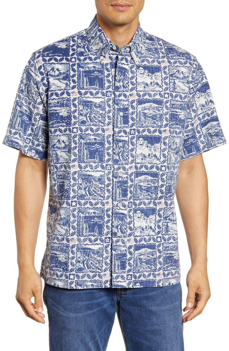 REYN SPOONER 2019 Commemorative National Parks Short Sleeve Button-Down Sport Shirt, Main, color, MEDIEVAL BLUE