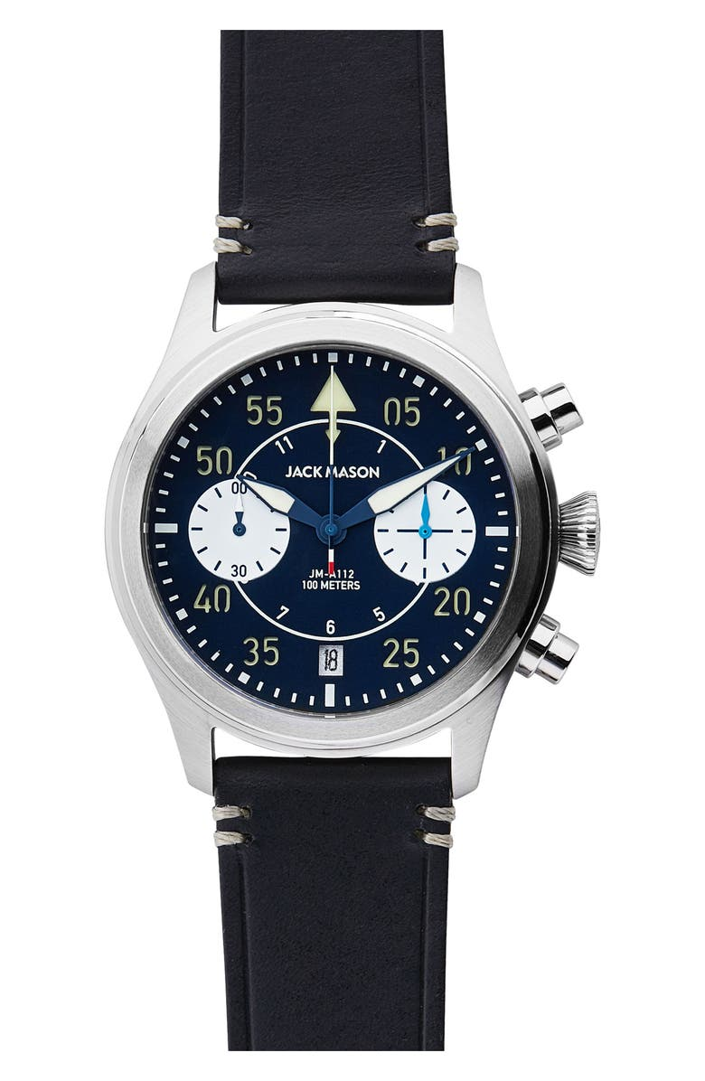 JACK MASON Aviation II Chronograph Leather Strap Watch, 42mm, Main, color, 410