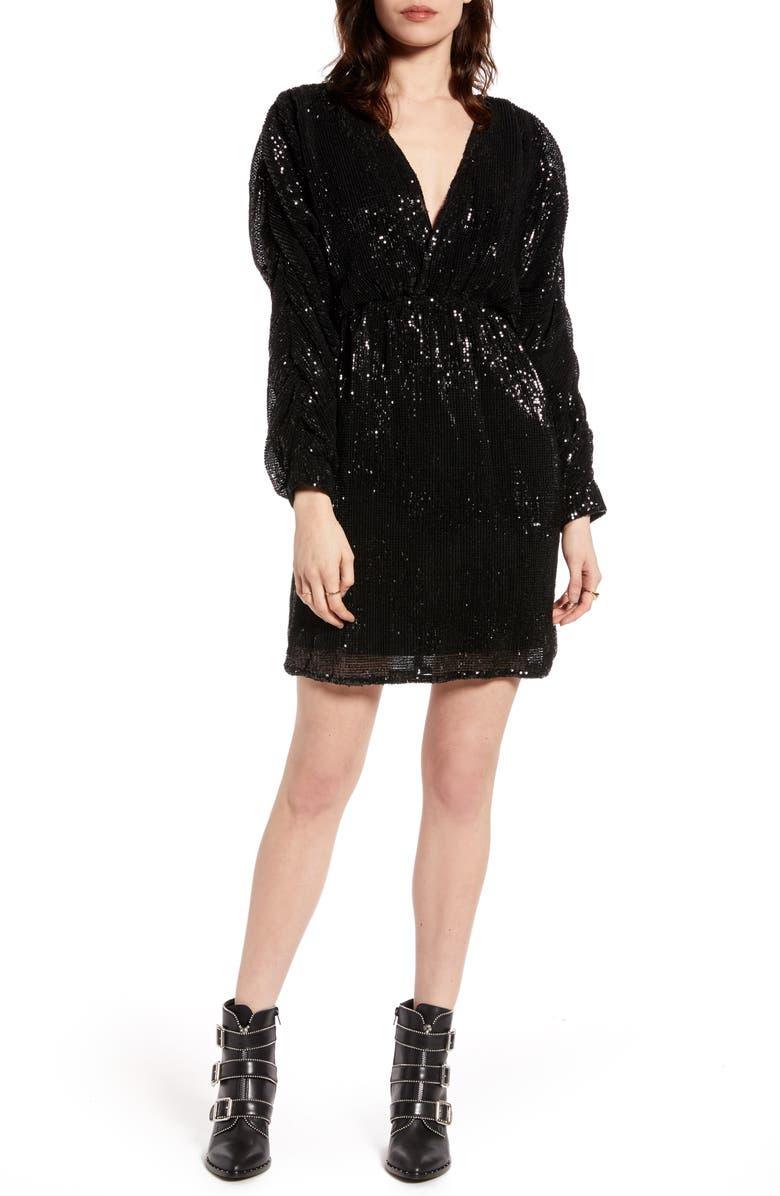 NA-KD Balloon Sleeve Sequin Dress, Main, color, BLACK