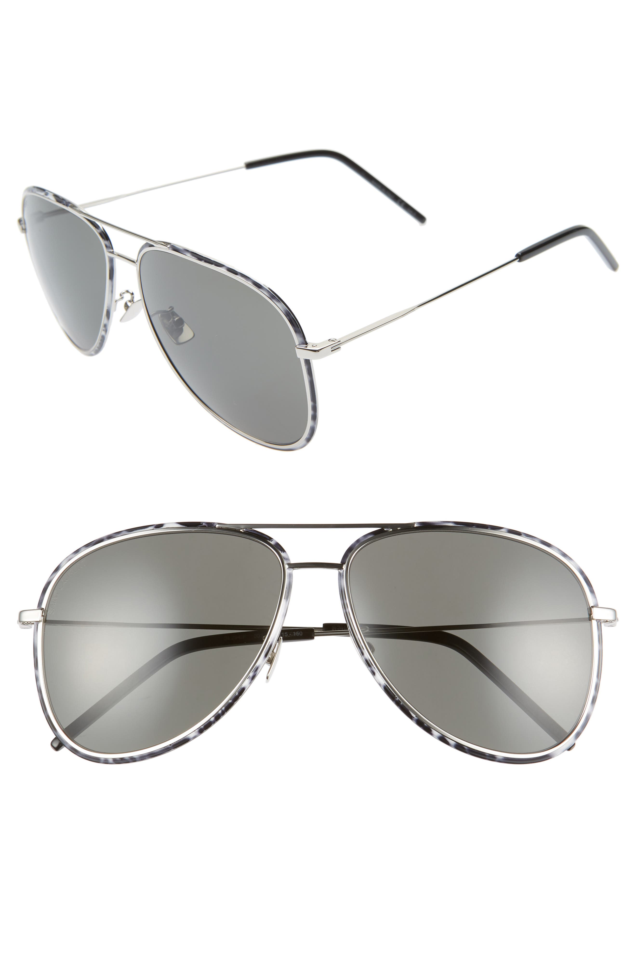 Saint Laurent 61Mm Aviator Sunglasses - Silver/ Black White / Grey