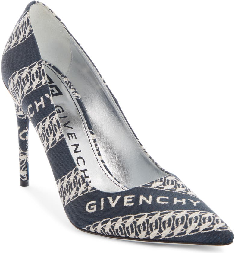 GIVENCHY Canvas Pointed Toe M-Pump, Main, color, NAVY/ WHITE
