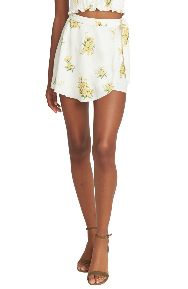 SHOW ME YOUR MUMU Floral Ruffle Wrap Front Shorts, Main, color, 100