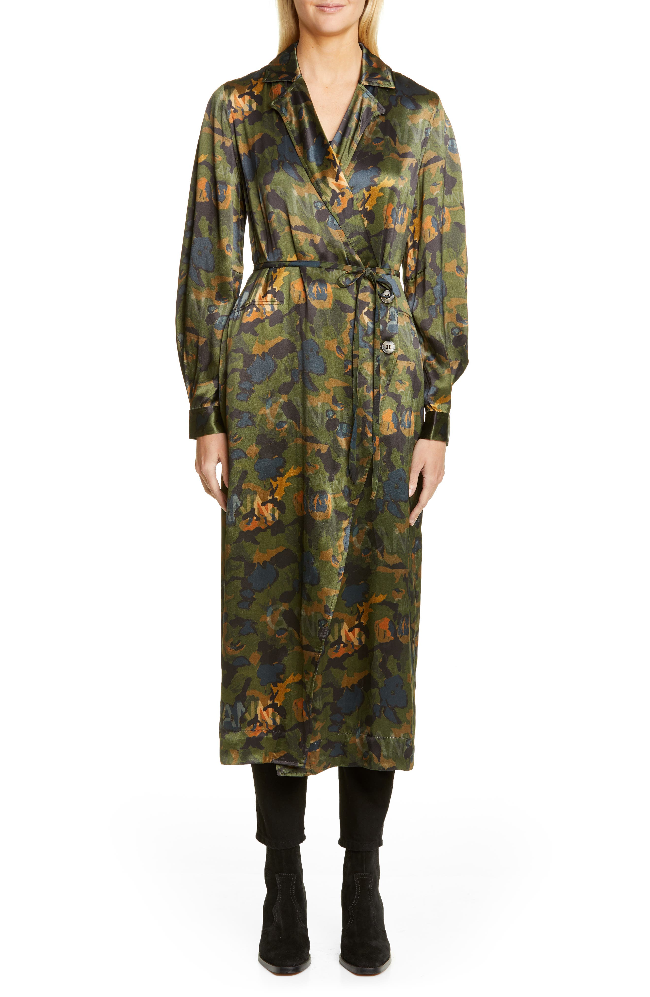 Ganni Coats Logo Print Heavy Satin Coat Dress