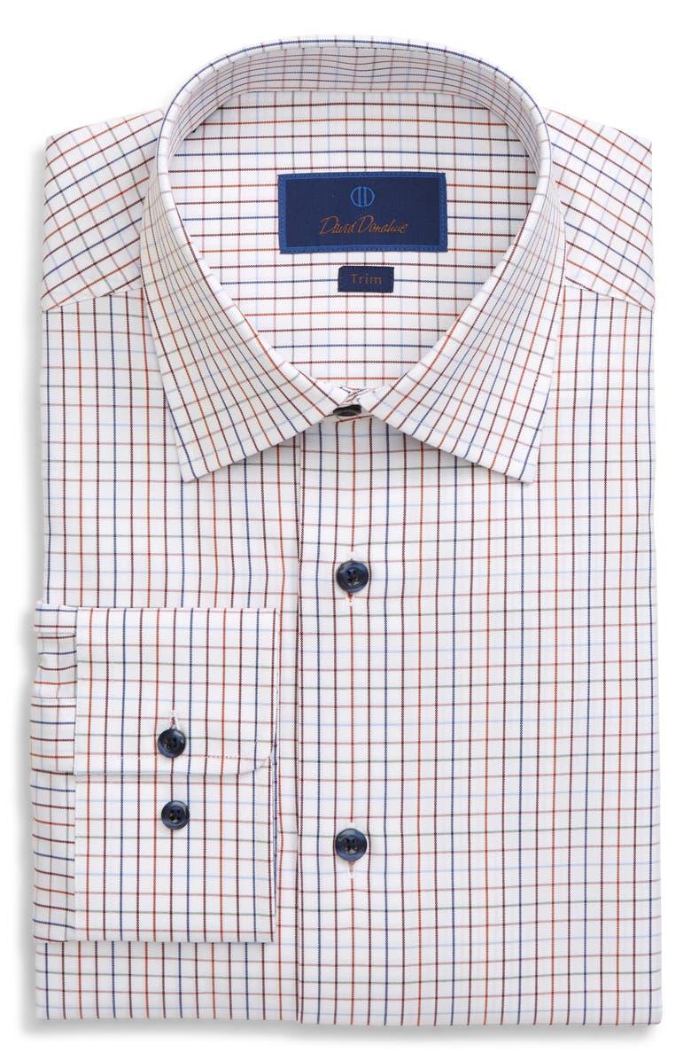 DAVID DONAHUE Trim Fit Tattersall Plaid Dress Shirt, Main, color, 800