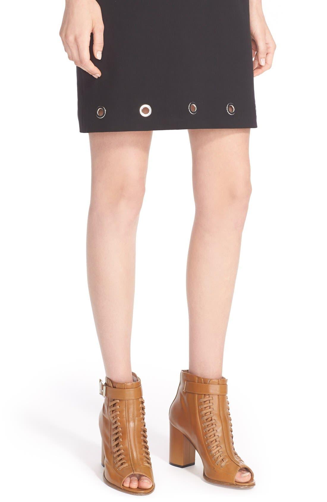 ,                             Grommet Detail Stretch Cotton Shift Dress,                             Alternate thumbnail 4, color,                             001