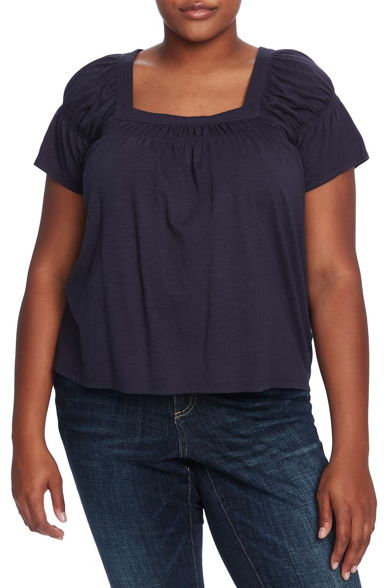 CECE Square Neck Cotton Blend Top, Main, color, NIGHT SHADE
