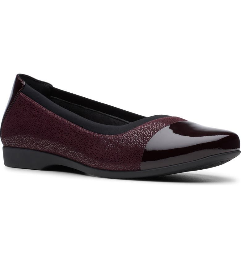 CLARKS<SUP>®</SUP> Un Darcey Cap Flat, Main, color, EGGPLANT LEATHER