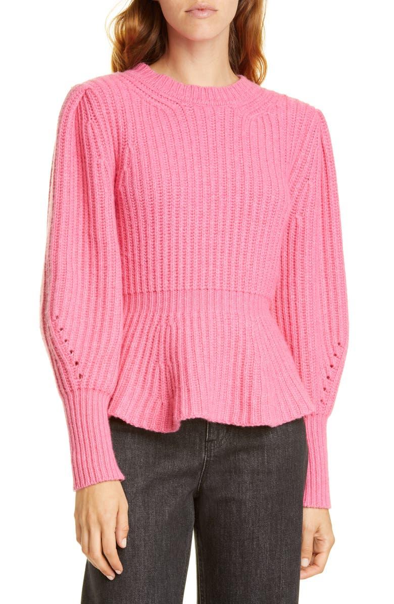 LA VIE REBECCA TAYLOR Peplum Pullover, Main, color, BLOOM
