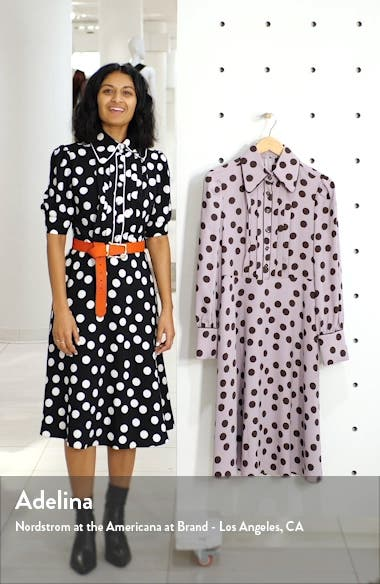 x Atlantic-Pacific Button & Pleat Polka Dot Fit & Flare Dress, sales video thumbnail
