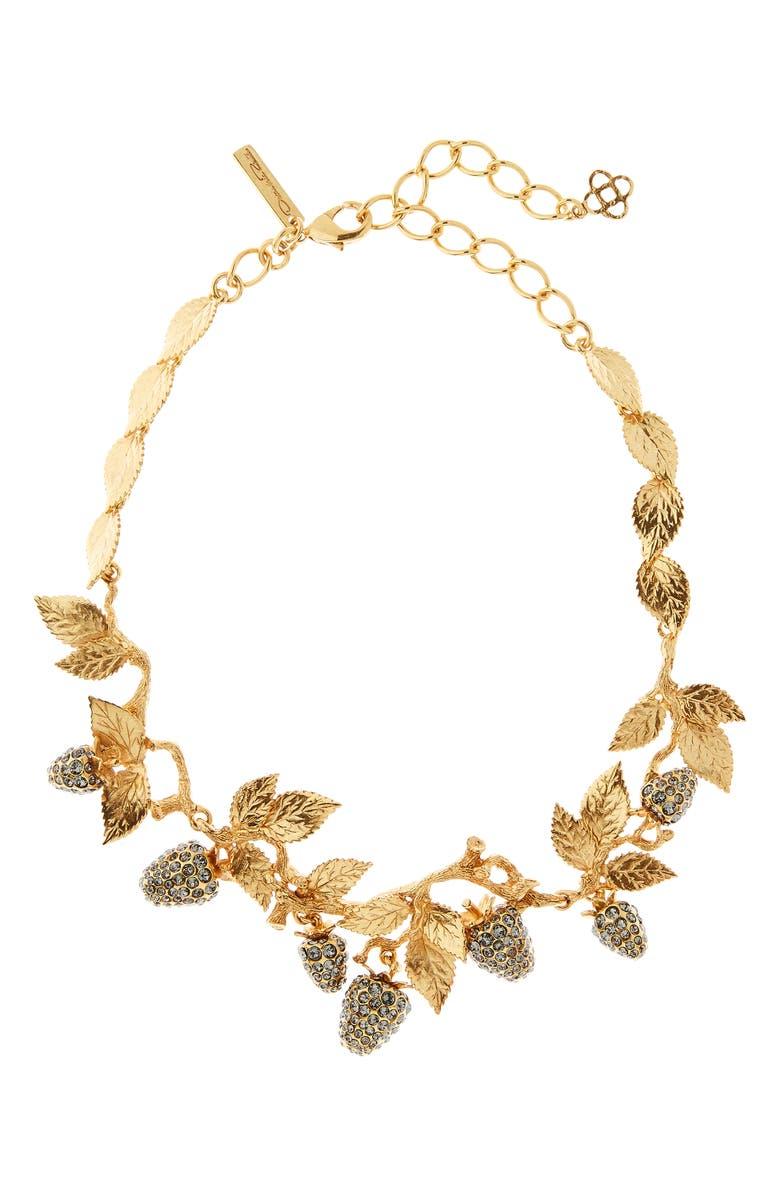 OSCAR DE LA RENTA Berry Necklace, Main, color, GOLD