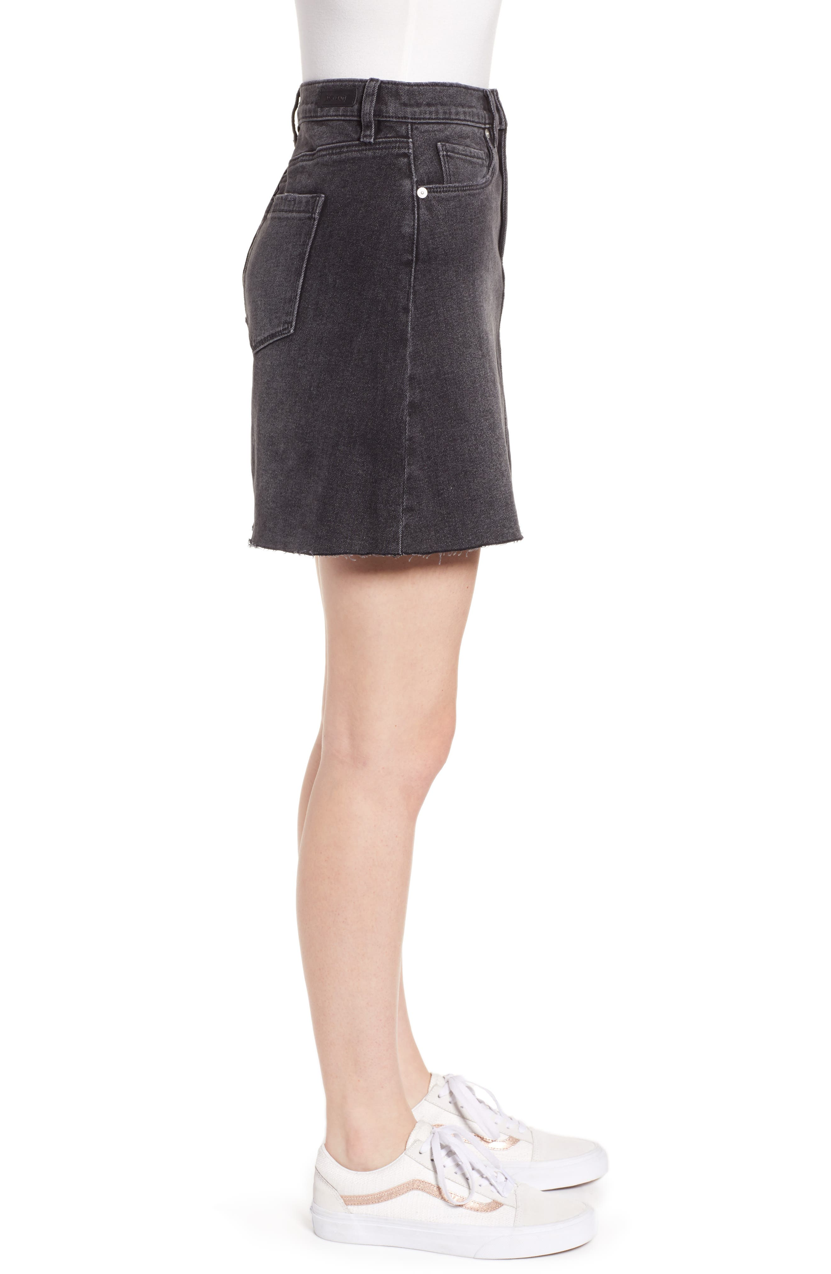 ,                             Raw Hem Denim Skirt,                             Alternate thumbnail 4, color,                             BEFORE AND AFTER