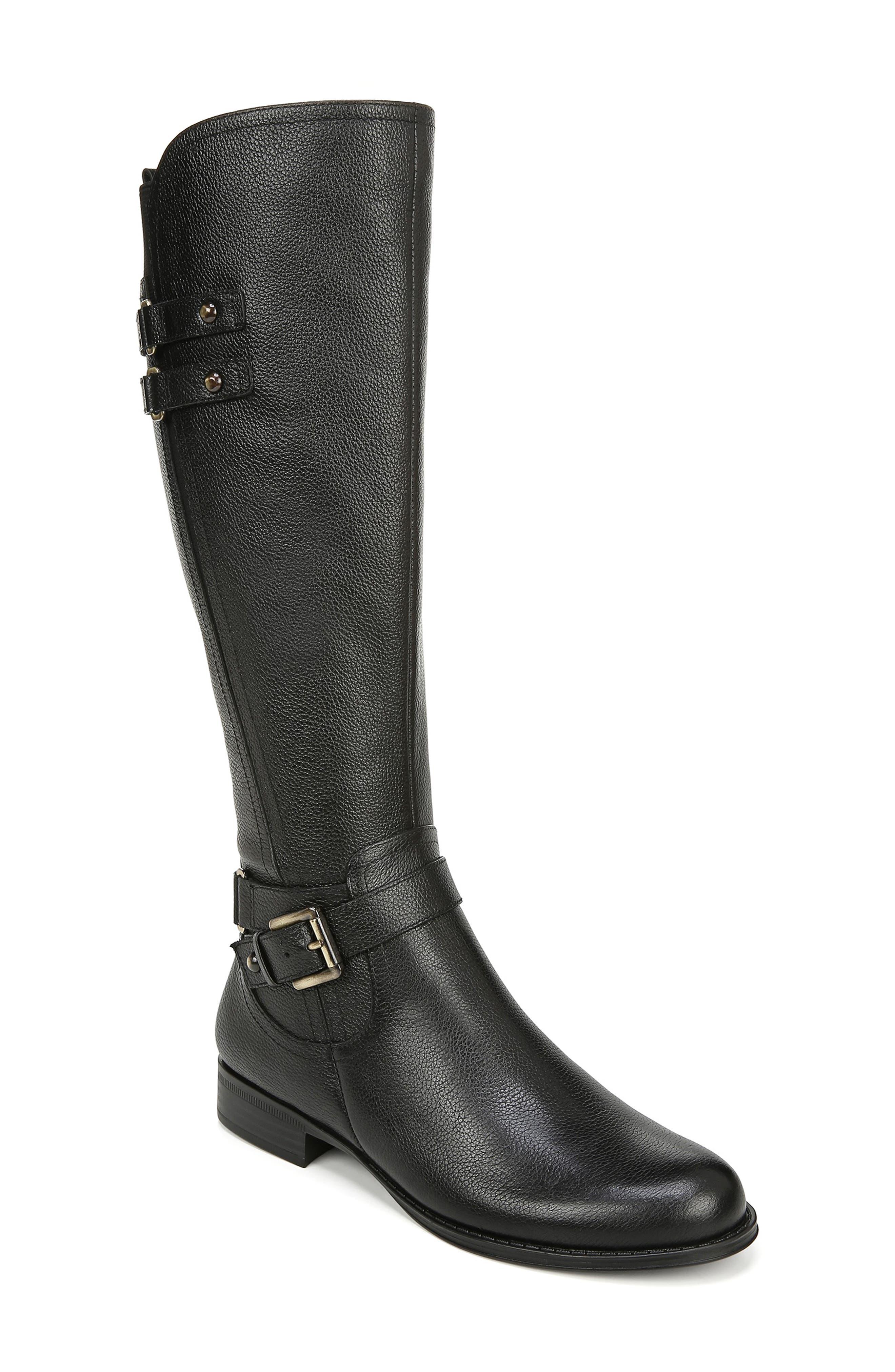 Naturalizer Jackie Tall Riding Boot, Regular Calf- Black
