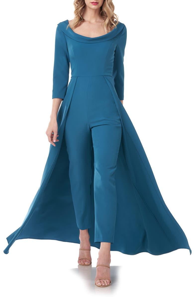 KAY UNGER Crepe Maxi Romper, Main, color, PERSIAN BLUE
