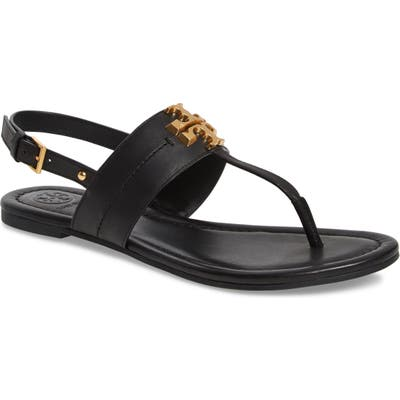 Tory Burch Everly T-Strap Flat Sandal, Black