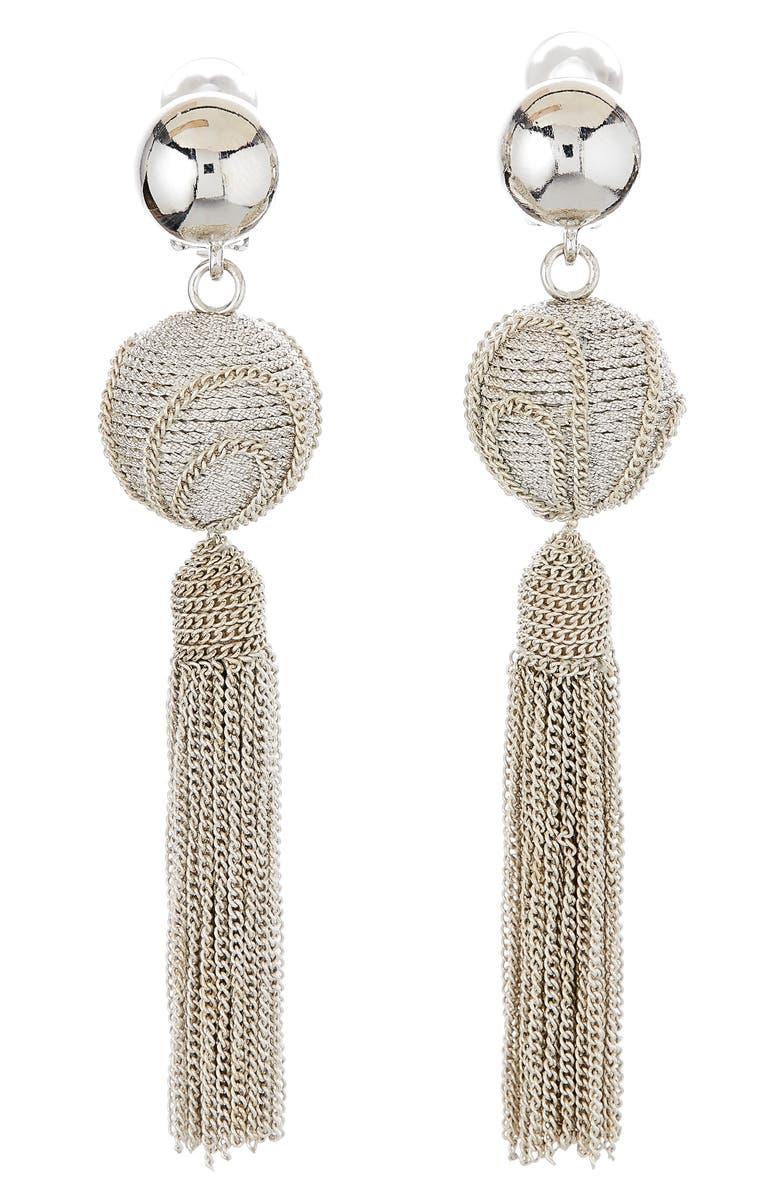 OSCAR DE LA RENTA Runway Tassel Chain Earrings, Main, color, SILVER