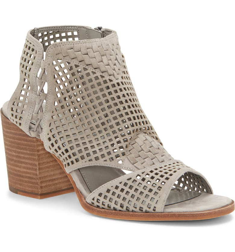 VINCE CAMUTO Kampbell Open Toe Mesh Bootie, Main, color, STORM GREY SUEDE
