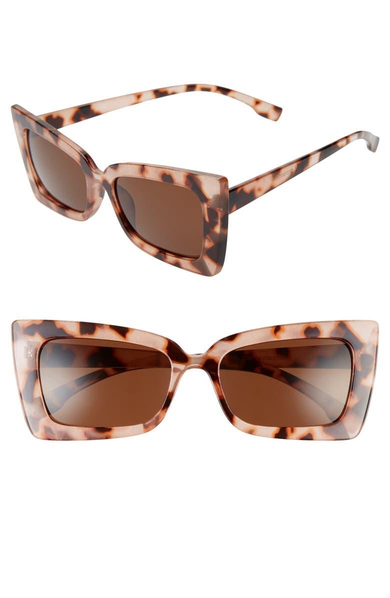 BP. Futuristic 55mm Square Cat Eye Sunglasses, Main, color, TAN