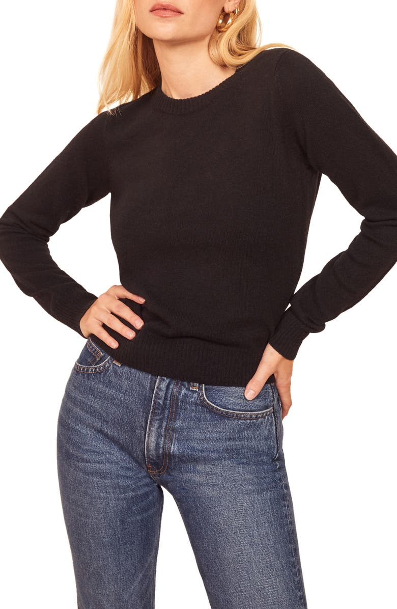 REFORMATION Cashmere Blend Sweater, Main, color, BLACK