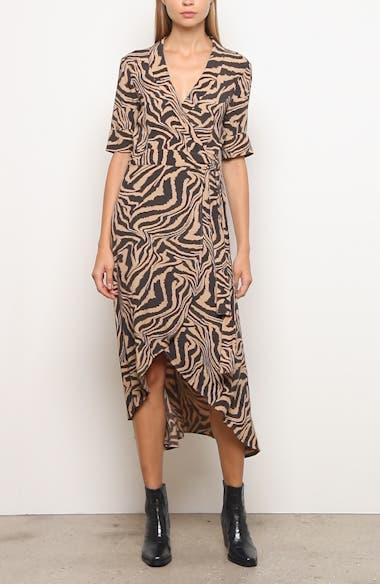 Tiger Stripe Print Wrap Midi Dress, video thumbnail