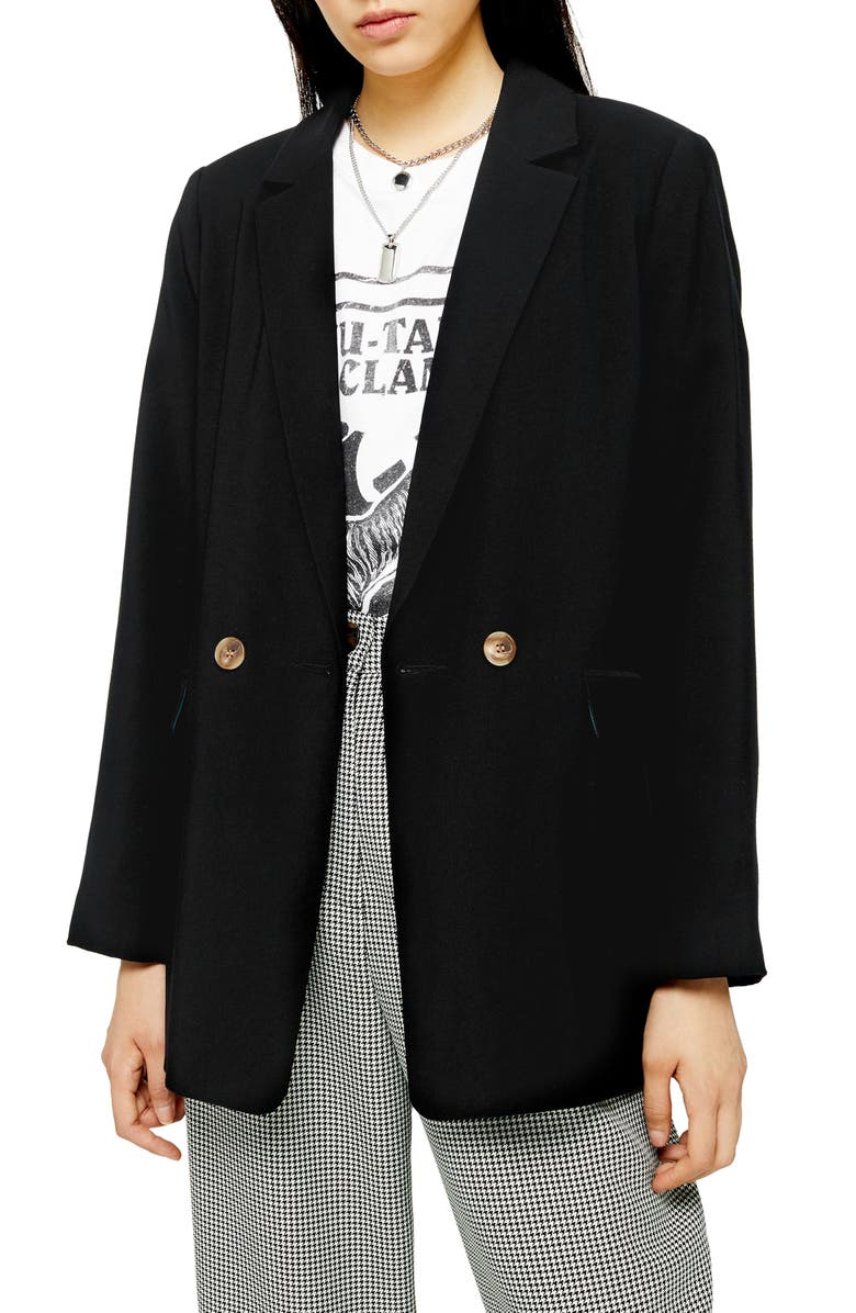 TOPSHOP Millie Double Breasted Blazer, Main, color, BLACK