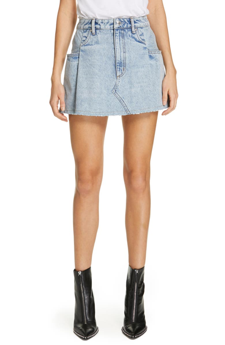 Denim X Alexander Wang Pleated Denim Miniskirt by Alexanderwang.T